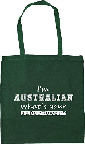 Tote 42cm Bottle x38cm 10 Your I'm litres Green Gym What's Shopping Beach Australian Bag Superpower HippoWarehouse 4XAqF6F
