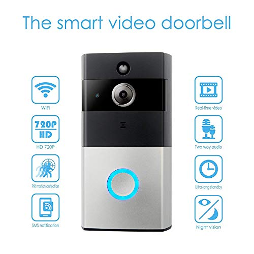 WIFI Video Doorbell, YINXN Greet Smart Doorbell 720P HD Wide-angle Lens Security Camera with Real-Time 2-Way Talk, Night Vision, PIR Motion Detection and App Remote Control for IOS and Android by YINXN