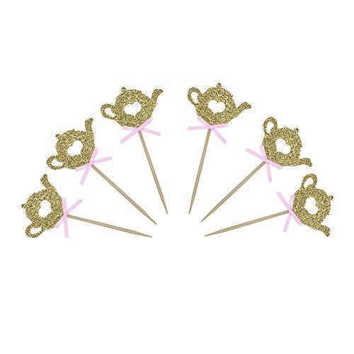 24 PCS Golden Glitter Teapot Cake Cupcake Toppers Picks for Tea Party Baby Shower Wedding Birthday Decorations