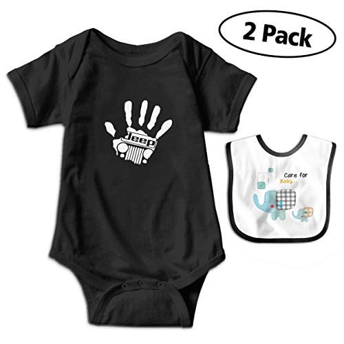 Jeep Wave Handprint Grill Wrangler Infant Baby Short Sleeve Romper Jumpsuit Bodysuit0-3M Black (Jeep 2 In 1 Baby Carrier Recall)