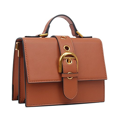Shoulder Capacity Pu Large Retro Buckle Bag Belt Square Brown Simple Use Handbag Everyday Suitable Asdflina For f0wdx58f