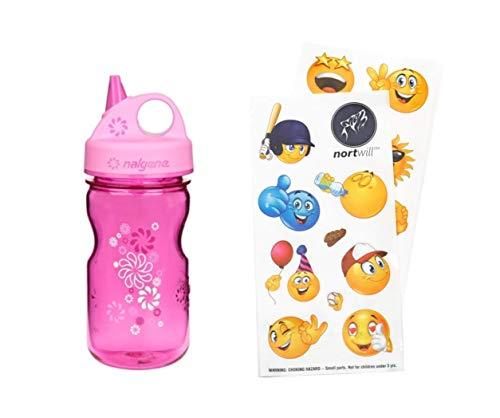 Nortwill Nalgene Kids Water Bottle Set, Nalgene Water Bottle 12oz Grip-N-Gulp BPA-Free Water Bottle with Straw – Cute Emoji Waterproof Stickers for Water Bottles (Pink – Wheels + Sticker Pack)