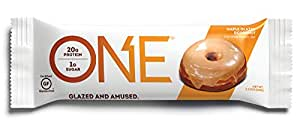 ONE Protein Bar, Maple Glazed Doughnut, 12 Pack, Gluten-Free Protein Bar with High Protein (20g) and Low Sugar (1g), Guilt Free Snacking for Healthy Diets
