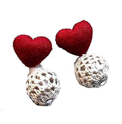 Valentine Handmade Knitting Ball Drops Dangle Earrings for Women / AZERPP011 (Red White)