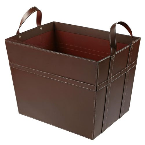 KINDWER Leather Magazine Basket with Handles, Brown by KINDWER