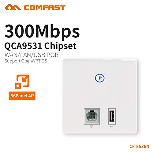 COMFAST Wall Embedded ap 300mbps Access Point WiFi 48V poe Power Supply Hotel use AP RJ45 USB Charger Port Dual 3dBi CF-E536N ()