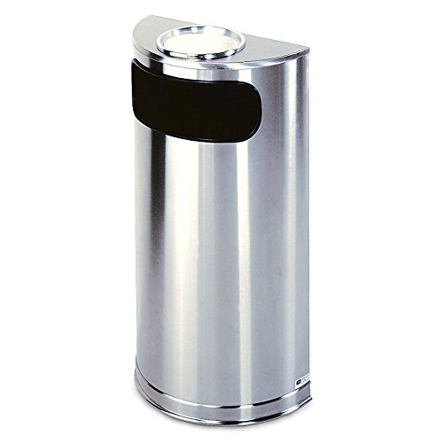 Rubbermaid Commercial Products FGSO8SUSSSPL Half-Round Steel Trash Can, 9 gal, Stainless Steel