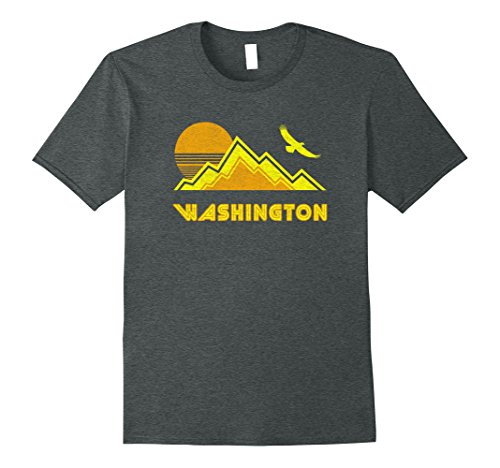 Mens Retro Washington T-Shirt Distressed Hiking Tee Large Dark Heather (Retro Washington Color)