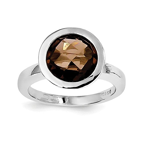 Sterling Silver Smokey Quartz Ring - Size 9