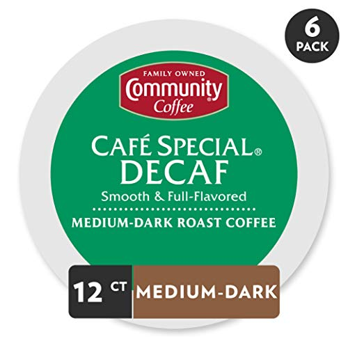 Community Coffee Café Special Decaf Medium Dark Roast Single Serve, 72 Ct Box, Compatible with Keurig 2.0 K Cup Brewers, Medium Full Body Smooth Bright Taste, 100% Arabica Coffee Beans