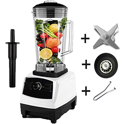 2200W Heavy Duty Commercial Blender Professional Blender Mixer Food Processor Japan Blade Juicer Ice Smoothie Machine,White full parts1,C,EU Plug ()