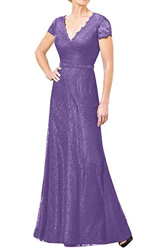 Bodenlang Marie Rock Linie Blau Lilac Promkleider Brautmutterkleider Navy a Abendkleider Kurzarm Spitze Braut La 1xw6FSTT