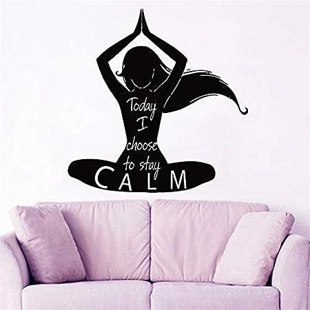Geiqianjiumai Yoga Lotus Wall Decal Vinyl Quote Sticker Keep Calm ...