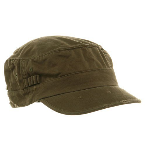 Military Cap Hat Olive (Washed Cotton Fitted Army Cap-Dark Olive)