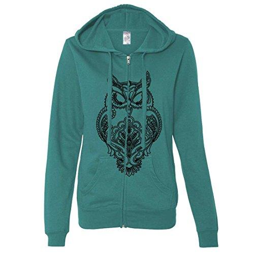 Wholesale Zip Up Hoodies (Mystical Owl Stencil Black Ladies Zip-Up Hoodie - Teal X-Large)