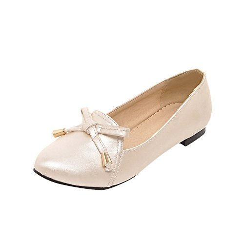 Show Shine Womens Fashion Sweet Bow Loafer Flats Shoes Beige QLSjFfa