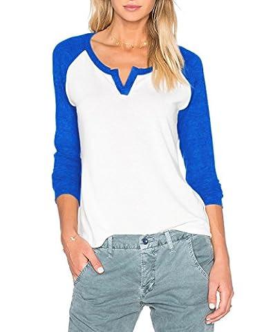 Sarin Mathews Women's Casual V Neck Long Sleeve Baseball Raglan Jersey T-Shirts RoyalBlue L - Long Sleeve Raglan Baseball