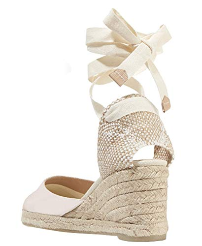 Womens Closed Toe Lace Up Espadrille Platform Wedges Sandals Shoes Canvas Ankle Tie Strap Dress Shoes Beige