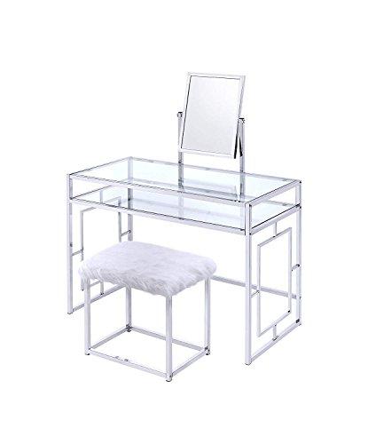 Acme Furniture 90314 Josh White and Chrome Vanity and Stool ()