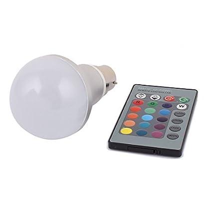 Del adaptador del bulbo B22 eDealMax bola de la decoración de la lámpara RGB LED 5W