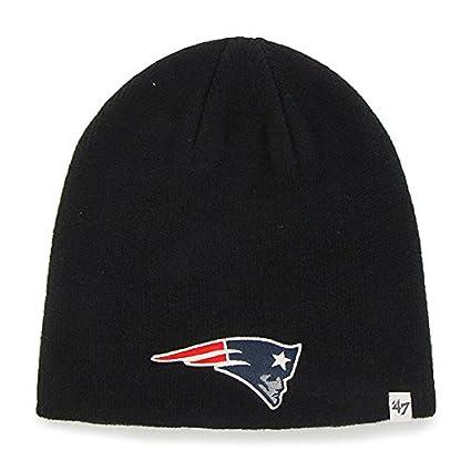 486eb637e1e Amazon.com   New England Patriots Black Skull Cap - NFL Cuffless Beanie Knit  Toque Hat   Sports   Outdoors