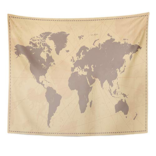 (Emvency Decor Wall Tapestry Old World Map Vintage Removable Antique Atlas Global Globe International Wall Hanging Picnic for Bedroom Living Room Dorm 60x50 Inches)