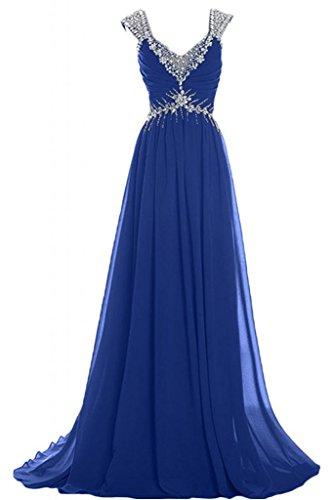 Sunvary lungo elegante A-Line Chiffon con abiti da sera o da cerimonia, con scollo A V, Mother's Gowns, Blu, 28W