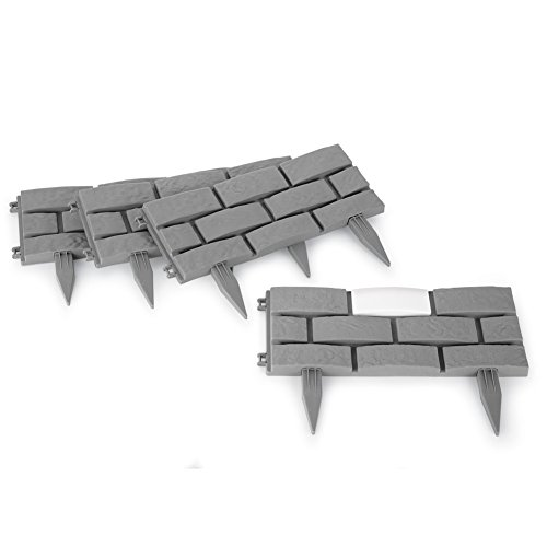 Collections Etc Solar Garden Stone Look Border Stakes - Set Of 4 - Edge Stake