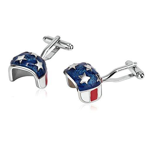 Great American Stainless Steel Helmet - Aooaz Cufflinks for Men Stainless Steel Cuffs Novelty American Flag Helmet Blue Cufflinks 1.7X1.7CM Blue