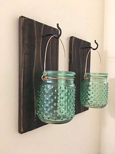 Mason-Jar-Wall-Sconce-SET-OF-TWO-Wall-Lanterns-Rustic-Wall-Decor-Rustic-Tealight-Holders-Sconces