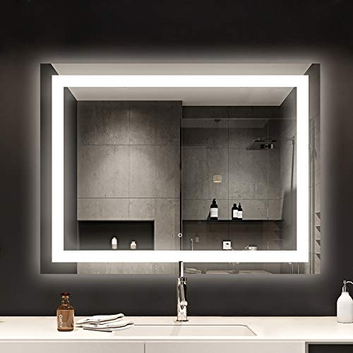 smartrun Bathroom LED Vanity Backlit Mirror, Lighting Make Up Mirror with Defogger, Dimmer and Touch Button -JAZZ48 WX36 H