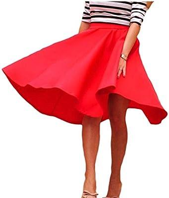 ainr Women's Summer High Waist Midi Long A-Line Swing Skater Skirt