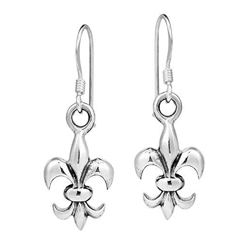 AeraVida Everyday Fleur-de-Lis .925 Sterling Silver Dangle Earrings