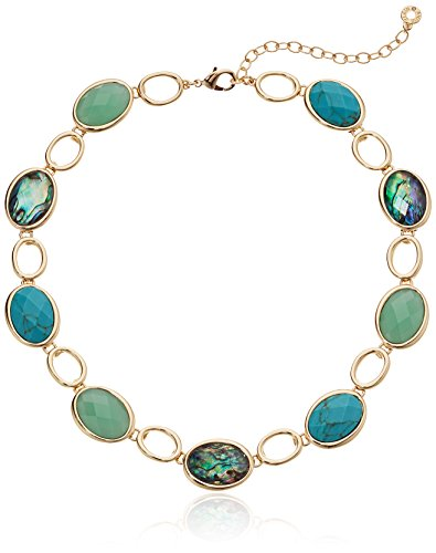 Anne Klein Women's Gold Tone and Turquoise Stone Faceted 16 Inch Stone Collar Necklace