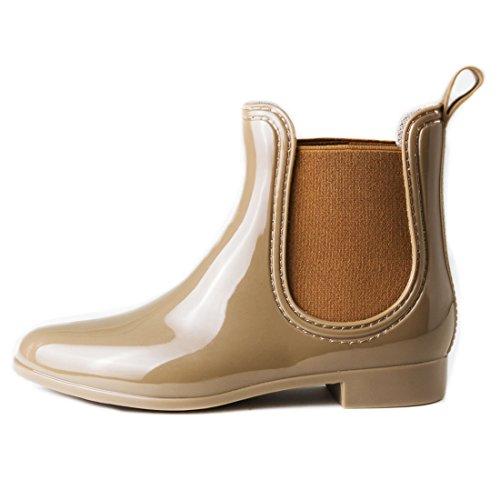 Damen Schlupf Gummistiefel Chelsea Boots Lack Stiefeletten Khaki