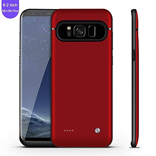 Galaxy S8 Plus Battery Case,FIDEA 5000mAh Rechargeable Slim External Battery Case,With Rechargeable External Battery,Portable Charger Juice Pack Power Bank Cover for Samsung Galaxy S8 Plus(Red Rose) by FIDEA