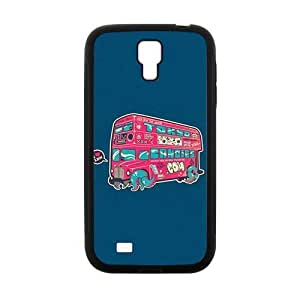 cute bus blue background lovely personalized creative clear protective cell phone case for Samsung Galaxy S4