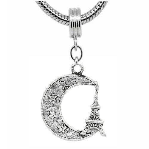 """Moon & Eiffel Tower Charm"" Dangle Charm Bead For Snake Chain Charm Bracelet"