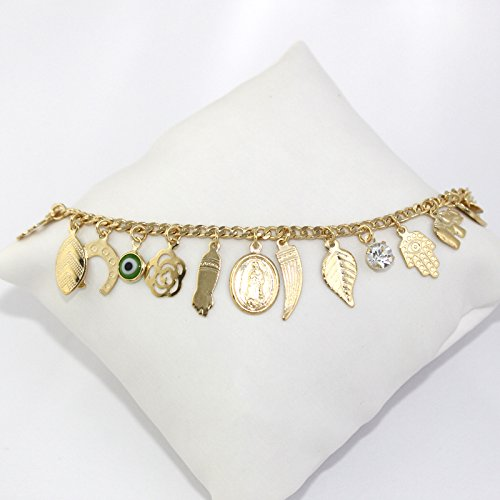 Fine Jewelry Paradise Gold Filled Anklet Bracelet Lucky Charms 9.5 inches Length Evil Eye Protection and Good Luck Amulet Foot Ankle by Fine Jewelry Paradise (Image #2)