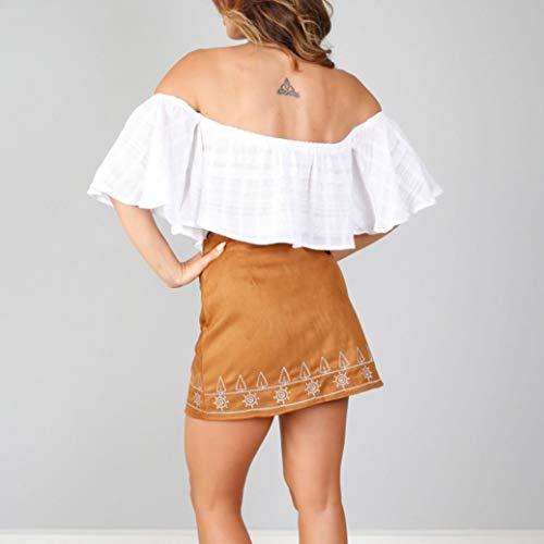 en Tissu Couture Jupe Courte ESAILQ Daim Marron Mince en Extensible sans Jupe 5wEqxd40d