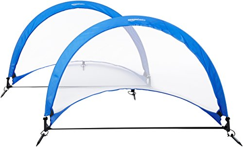 AmazonBasics Pop-Up Soccer Goal Net Set with Carrying Case - 6 Feet, Blue