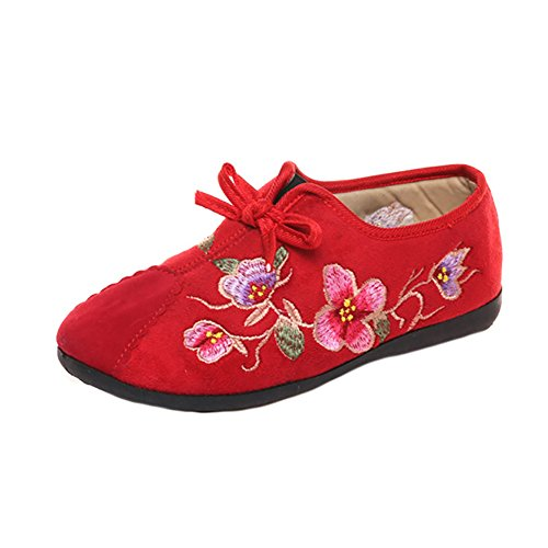 CHUANGLI Womens Embroidery Shoes Thicken Suede Casual Sneakers Walking Shoes for Spring Autumn Red mvlSdPZZE