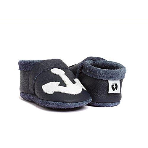 Littlefoot Empresa ®, Marca De Qualidade Artesanal Da Alemanha, Couro Suave Conforto, Krabbelschuhe, Puschen Bebê Em Azul Marinho
