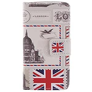 TL Vintage Postcard Design PU Full Body Case with Card Slot and Stand for iPhone 5C