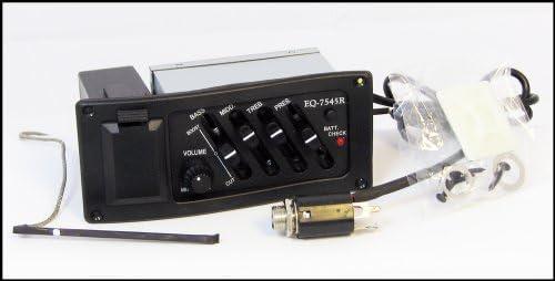 LIGH EQ-7545R Pastilla de Guitarra ac/ústica Preamplificador de Guitarra Pastilla de Amplificador Caja el/éctrica de Salida de Jack de 6,5 mm Accesorio de Guitarra Negro