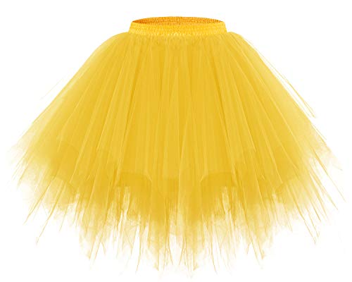 Bridesmay Women's Tutus Tulle Skirt 50s Vintage Petticoat Ballet Bubble Skirts Dark Yellow M ()
