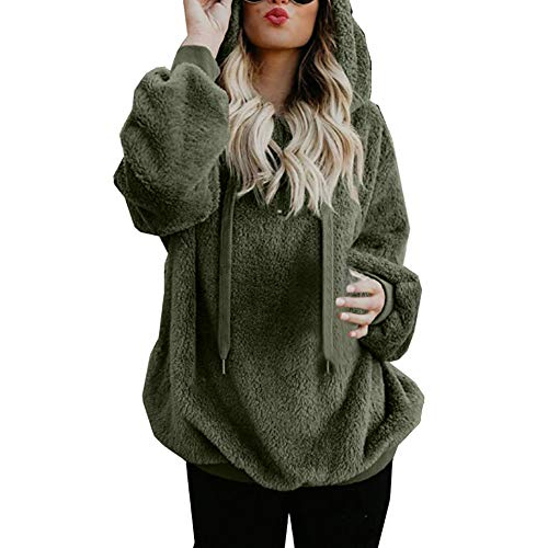 Deals! Women Warm Fluffy Winter Coat Hoodie Tops, Ladies Hooded Sweatshirt Pullover Jumper Clothes(M, y-yArmy Green) ()