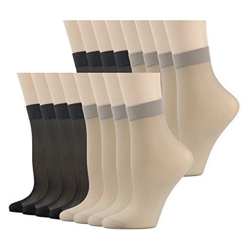 Ankle Socks Women High, INCHER Women Dress Socks Hosiery Socks Breathable Socks 16 Pairs Smooth Knit Anklets Women's Girl's
