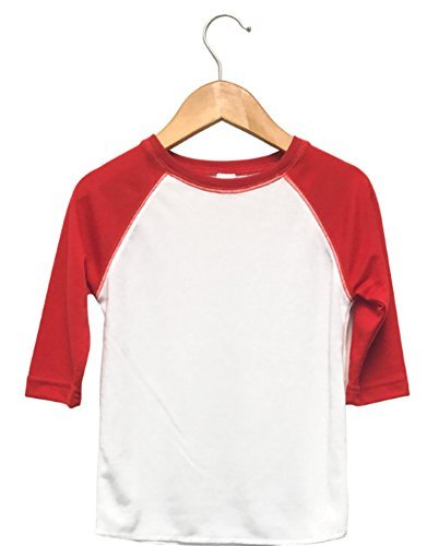 3T Baseball Raglan T-Shirt White with Red Sleeves For Sublimation Sublimation Graphic Tee