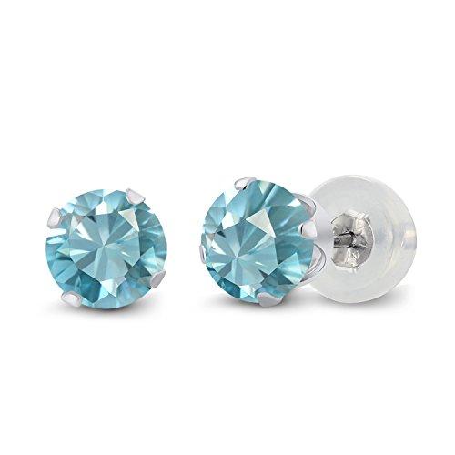 1.70 Ct Round 5mm Blue Zircon 10K White Gold Stud Earrings - 10k Zircon Earrings